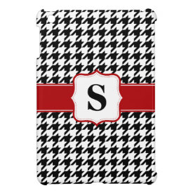 Red and Black Houndstooth Monogram Personalized iPad Mini Cover