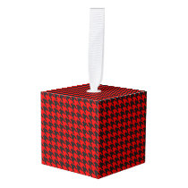 Red And Black Houndstooth Pattern Cube Ornament
