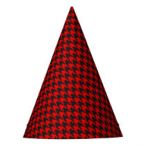 Red And Black Houndstooth Pattern Party Hat