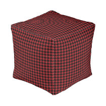Red and Black Houndstooth Pouf