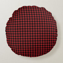 Red and Black Houndstooth Round Pillow