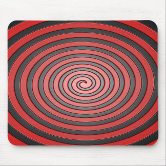 Red and Black Hypnotic Spiral Mouse Pad