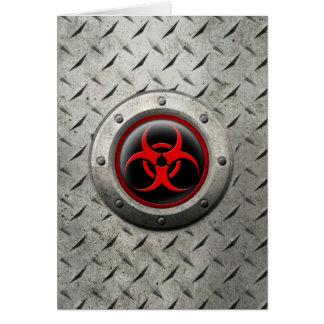 Red and Black Industrial Biohazard Steel Effect Card