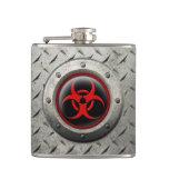 Red and Black Industrial Biohazard Steel Effect Flasks