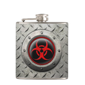 Red and Black Industrial Biohazard Steel Effect Flask