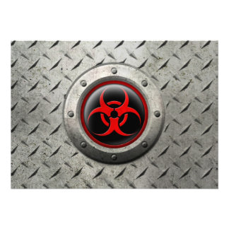 Red and Black Industrial Biohazard Steel Effect Announcements