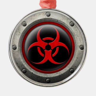 Red and Black Industrial Biohazard Steel Effect Christmas Tree Ornaments