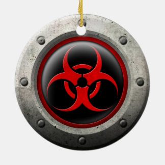 Red and Black Industrial Biohazard Steel Effect Christmas Tree Ornament