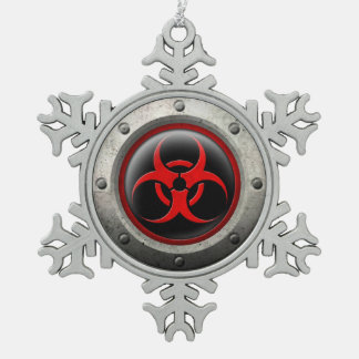Red and Black Industrial Biohazard Steel Effect Ornaments