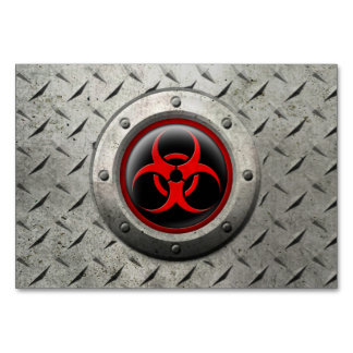 Red and Black Industrial Biohazard Steel Effect Table Card