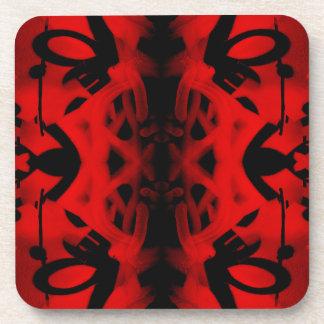 Red and black kaleidoscope graffiti beverage coaster