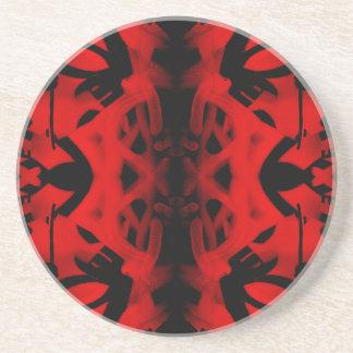 Red and black kaleidoscope graffiti drink coaster