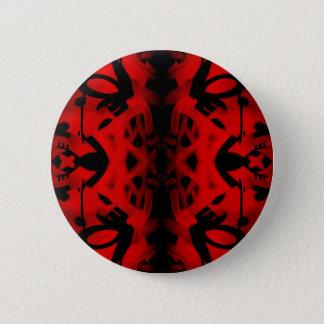 Red and black kaleidoscope graffiti pinback button