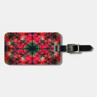 Red and black kaleidoscope pattern bag tag