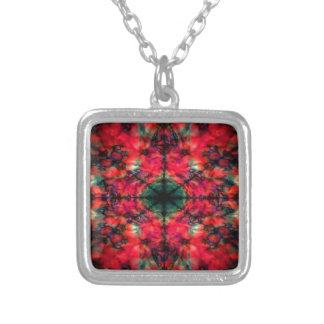 Red and black kaleidoscope pattern silver plated necklace