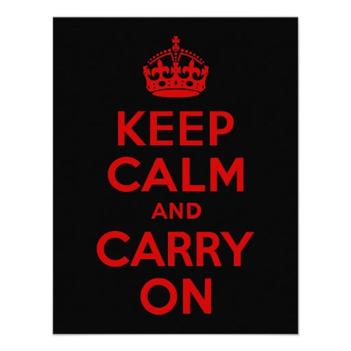 Red and Black Keep Calm and Carry On Custom Invitations