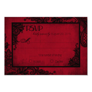 "Red and Black Lace Gothic RSVP Card 3.5"" X 5"" Invitation Card"