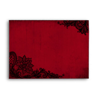 Red and Black Lace Gothic Wedding Envelopes