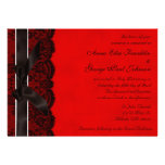 Red and Black Lace Vintage Wedding Invitation