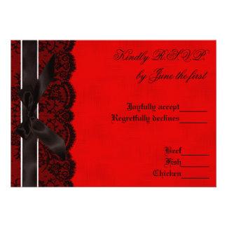 Red and Black Lace Vintage Wedding RSVP Custom Invite