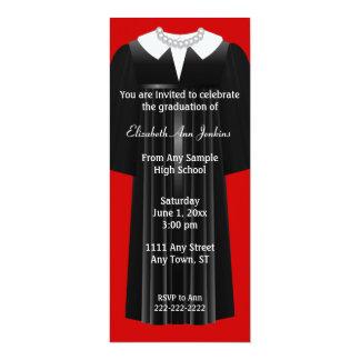 "Red and Black Ladies Graduation Invitation 4"" X 9.25"" Invitation Card"
