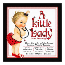 Red and Black Ladybug Baby Shower Card