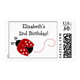 Red and Black Ladybug Personalized Birthday Postage