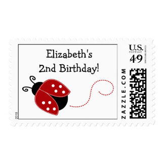 Red and Black Ladybug Personalized Birthday Stamp