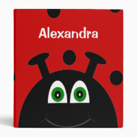 Red and Black Ladybug Personalized School 3 Ring Binder