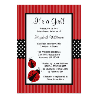 Red and Black Ladybug Striped Dots Baby Shower Card