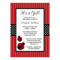 Red and Black Ladybug Striped Dots Baby Shower Custom Invitations