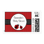 Red and Black Ladybug Striped Dots Baby Shower Stamp