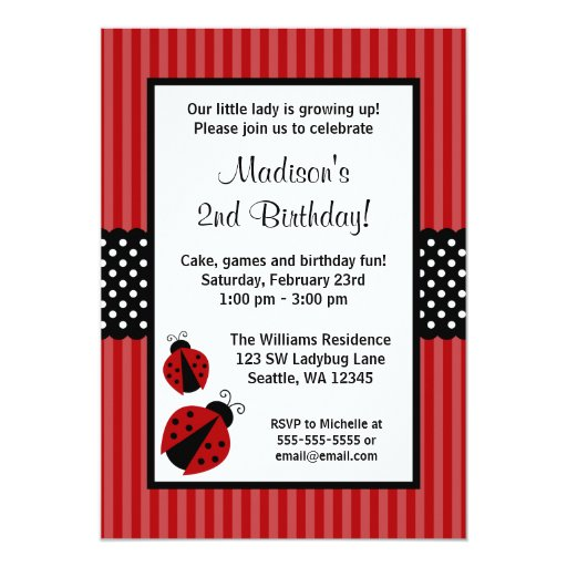 Red and Black Ladybug Striped Dots Birthday Party 5x7 Paper Invitation Card