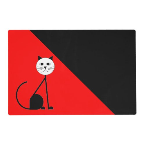 Red and  Black Laminated Placement Placemat