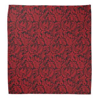RED AND BLACK LEAF DESIGN BANDANA