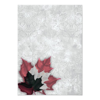 Red and Black Leaves Goth Wedding 5x7 Paper Invitation Card