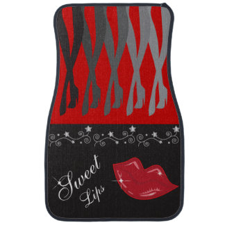 Red and Black Legs and Lips Car Mat