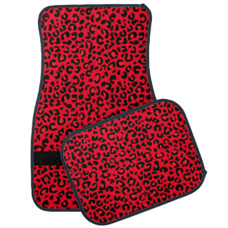 Red and Black Leopard Print   Monogram Floor Mat