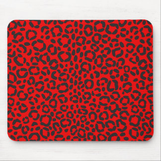 Red and Black Leopard Print Mouse Pad