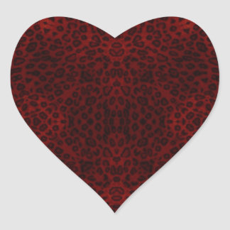 Red and Black Leopard Print Heart Sticker