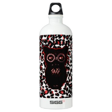 Halloween Themed Red and Black Leopard Spots With Owl Aluminum Water Bottle