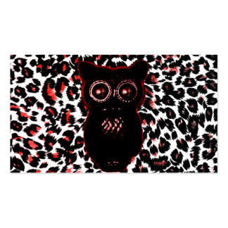 Red and Black Leopard Spots With Owl Business Card