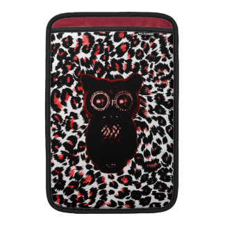 Red and Black Leopard Spots With Owl MacBook Sleeves
