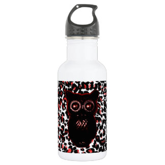 Red and Black Leopard Spots With Owl 18oz Water Bottle