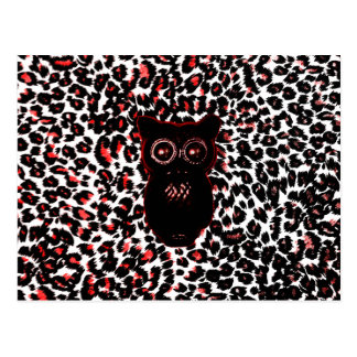 Red and Black Leopard Spots With Owl Postcard