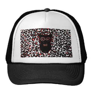 Red and Black Leopard Spots With Owl Trucker Hat