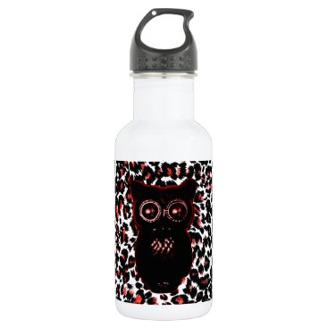 Halloween Themed Red and Black Leopard Spots With Owl Water Bottle