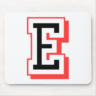 red and black letter E Mouse Pad