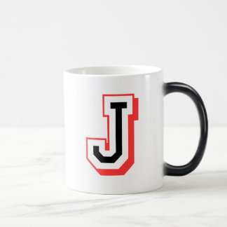 Red and Black Letter J Magic Mug