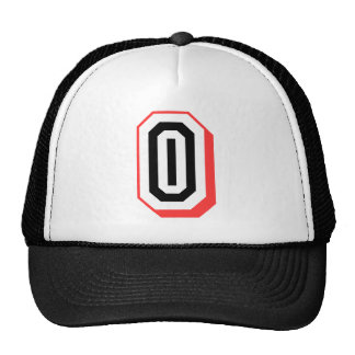 red and black letter O Trucker Hat